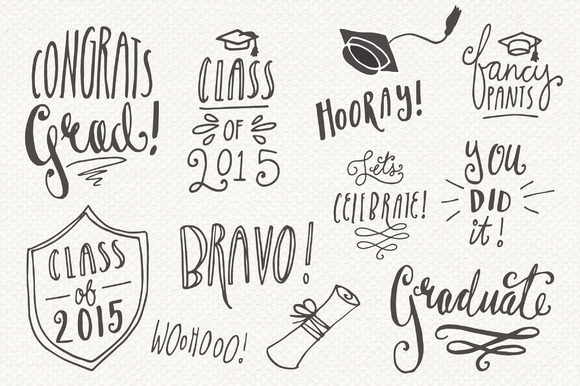 Graduation Overlays Graphic Illustrations By The Pen and Brush