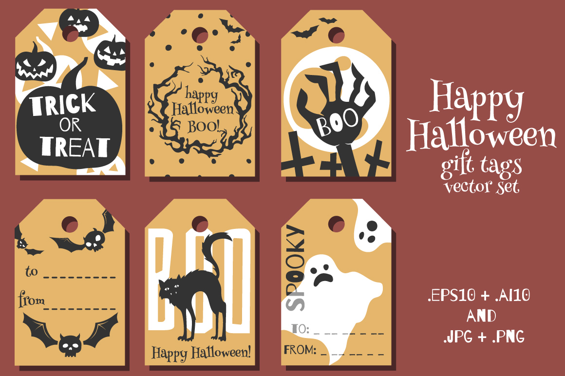 Download Free Halloween Gift Tags Vector Set Graphic By Nomadharley Creative for Cricut Explore, Silhouette and other cutting machines.
