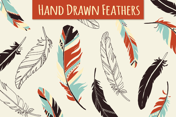 Hand Drawn Feathers Set Graphic Illustrations By The Pen and Brush