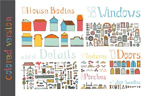 Hand Drawn House Elements Graphic Illustrations By Favete Art