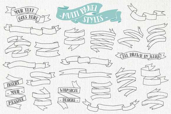 Hand Drawn Banner and Ribbons Bundle Graphic Objects By The Pen and Brush - Image 3