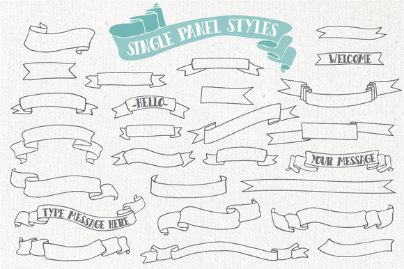 Hand Drawn Banner and Ribbons Bundle Graphic Objects By The Pen and Brush - Image 4