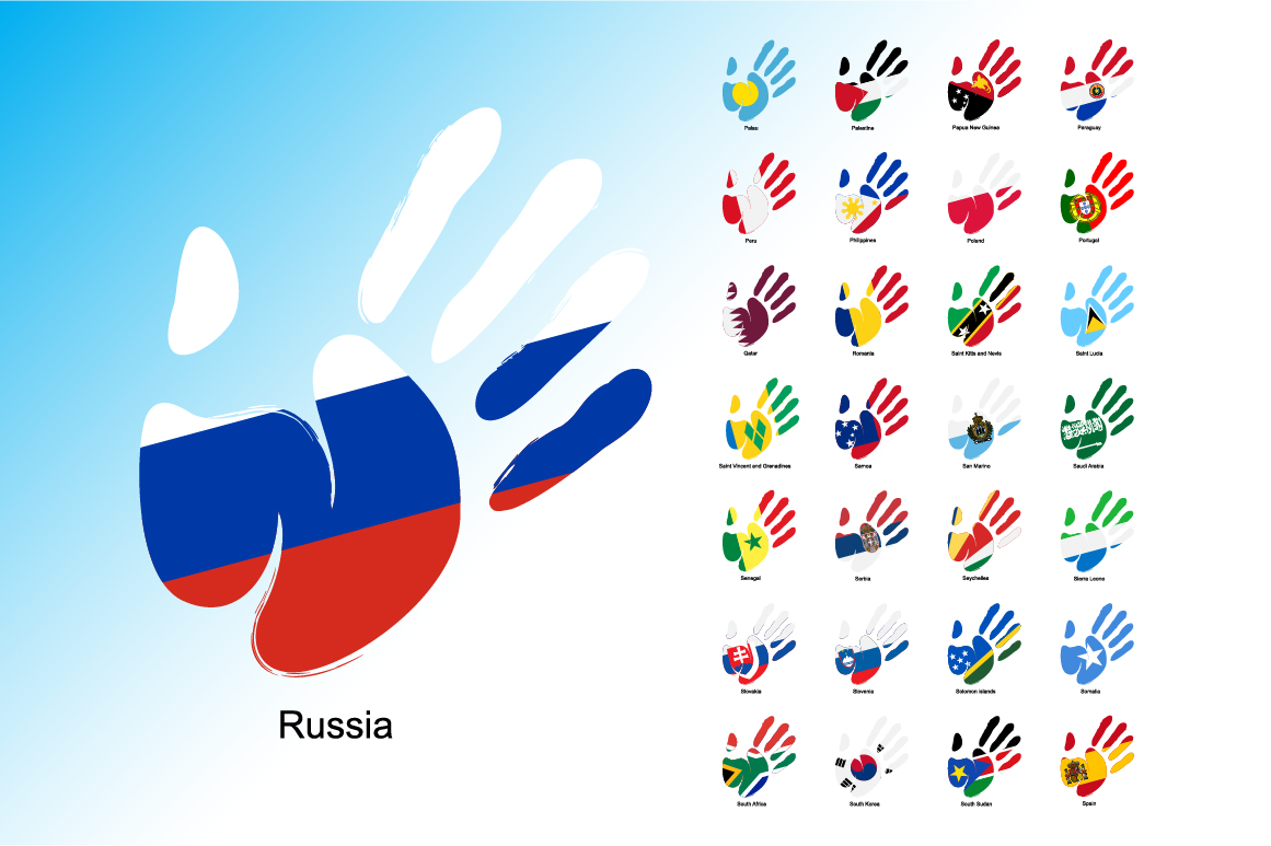 Print on Demand: Hand Flag Collection Graphic Icons By NREY - Image 4