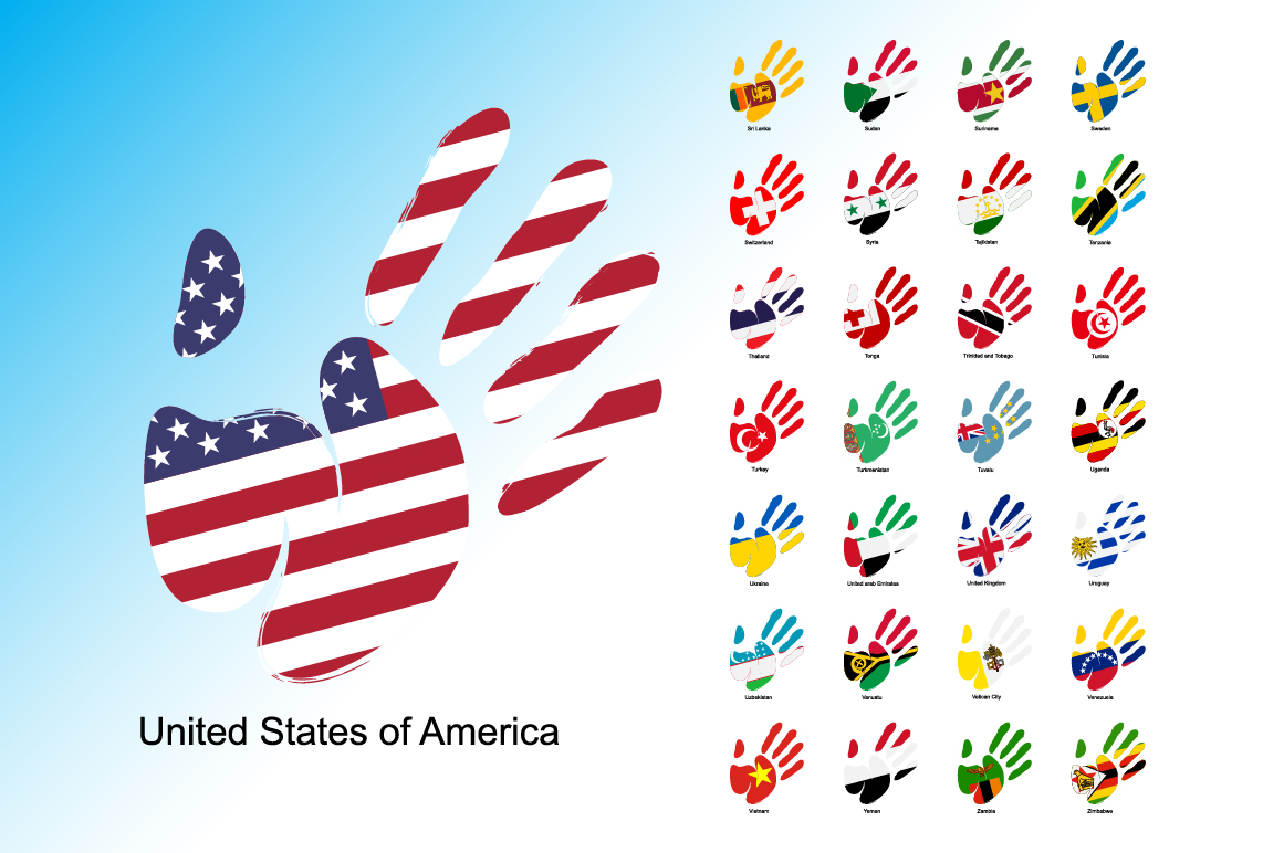 Print on Demand: Hand Flag Collection Graphic Icons By NREY - Image 7