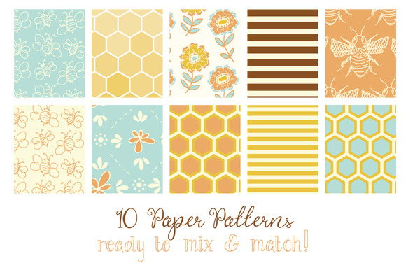 Download Free Honey Bee Patterns Papers Graphic By The Pen And Brush for Cricut Explore, Silhouette and other cutting machines.