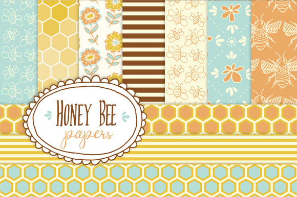 Honey Bee Patterns & Papers Graphic Backgrounds By The Pen and Brush