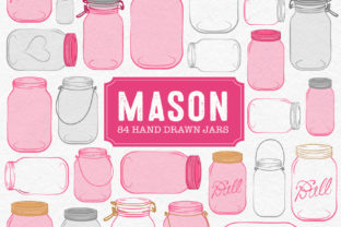 Download Free Hot Pink Mason Jars Graphic By Amanda Ilkov Creative Fabrica for Cricut Explore, Silhouette and other cutting machines.