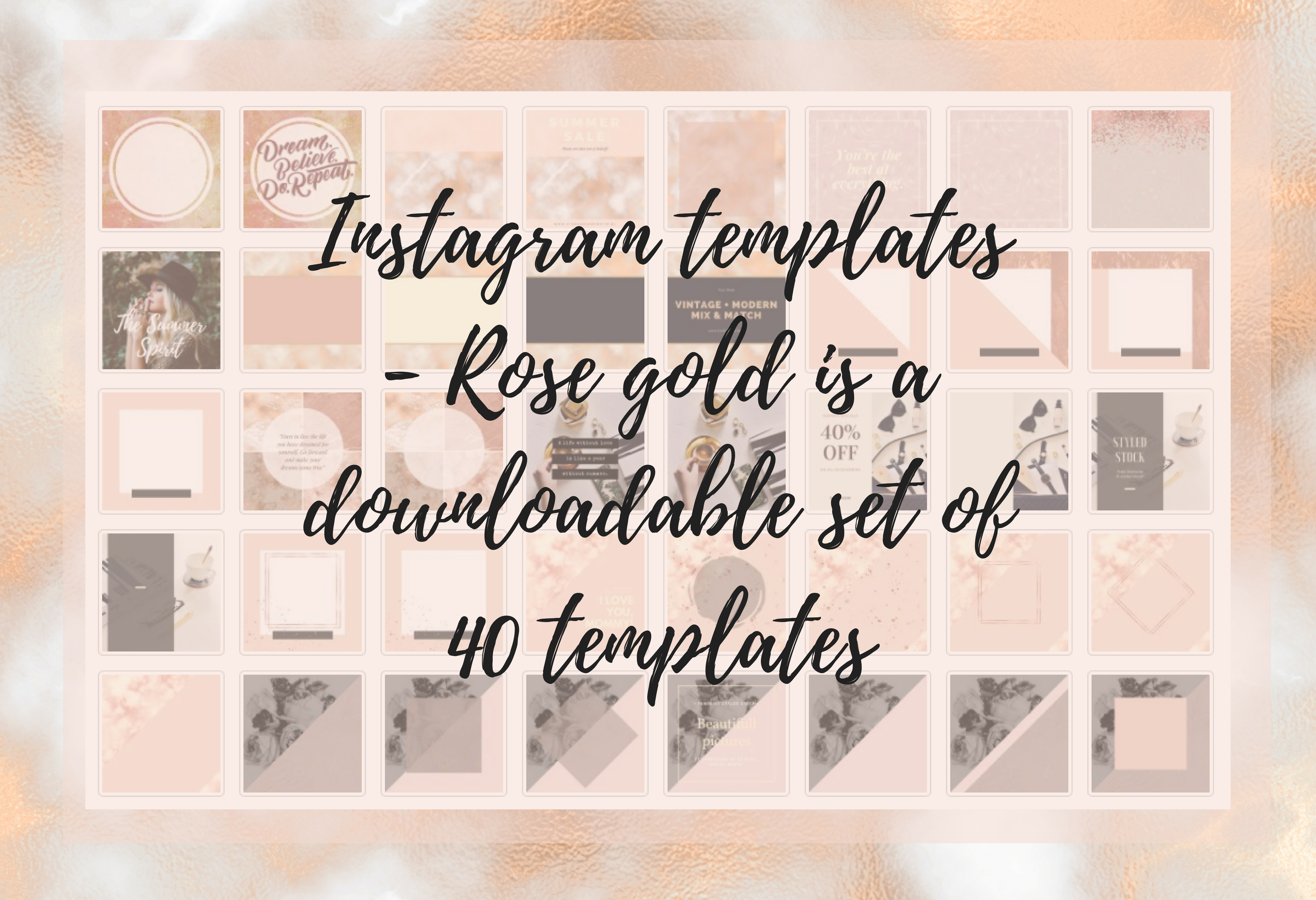 Instagram Templates - Rose Gold Graphic Graphic Templates By Creative Stash