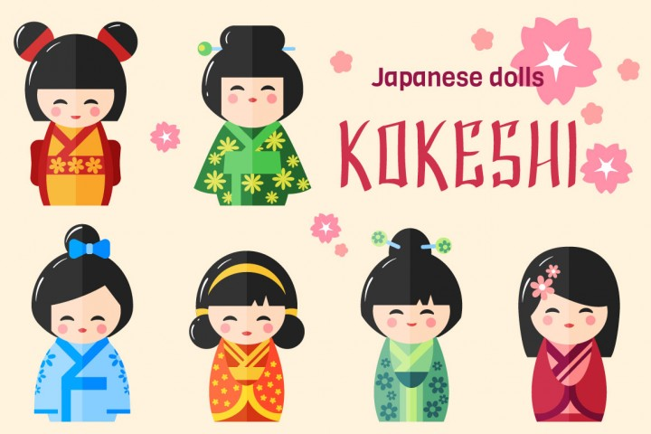 Download Free Japanese Kokeshi Dolls Graphic By Nomadharley Creative Fabrica for Cricut Explore, Silhouette and other cutting machines.
