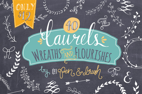 Laurels, Wreaths & Flourishes Graphic Illustrations By The Pen and Brush
