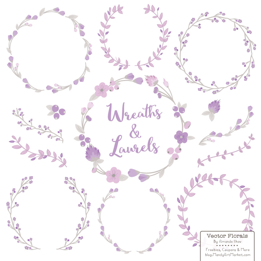 Lavender Floral Laurals and Wreaths Graphic Illustrations By Amanda Ilkov