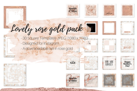 Lovely Rose Gold Instagram Pack Graphic Web Elements By Creative Stash