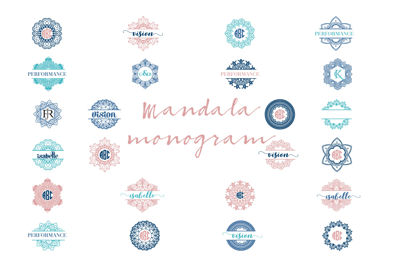 Download Free Mandala Monogram Bundle Graphic By Sintegra Creative Fabrica for Cricut Explore, Silhouette and other cutting machines.