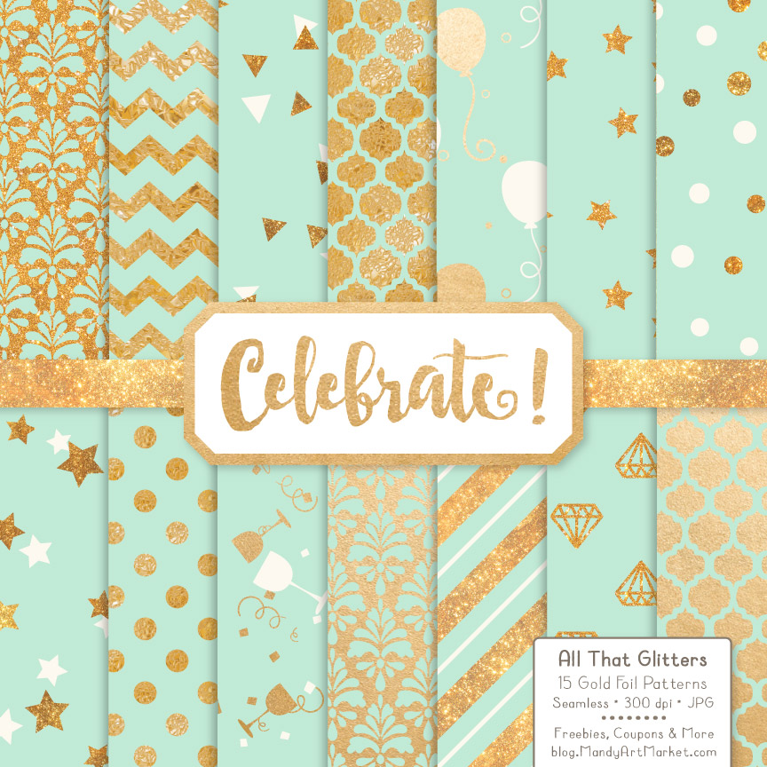 Mint Celebrate Gold Digital Paper Set Graphic By Amanda Ilkov