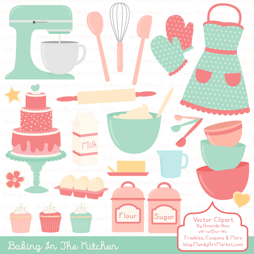Mint Coral Baking in the Kitchen Graphic Illustrations By Amanda Ilkov