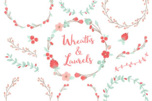 Mint Coral Floral Laurals and Wreaths Graphic By Amanda Ilkov