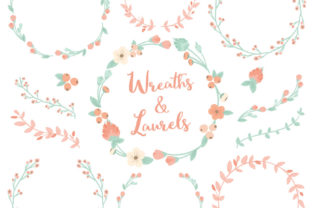 Mint Peach Floral Laurals and Wreaths Graphic By Amanda Ilkov