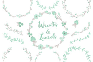 Mint W Grey Floral Laurals and Wreaths Graphic By Amanda Ilkov