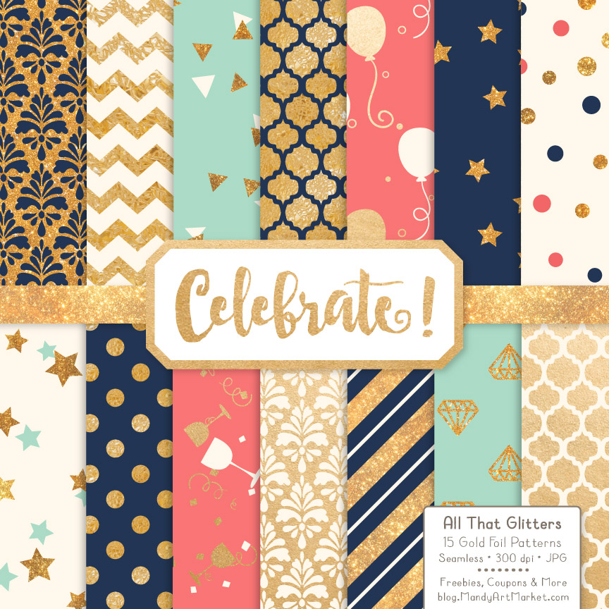 Modern Chic Celebrate Gold Digital Paper Set Graphic Patterns By Amanda Ilkov