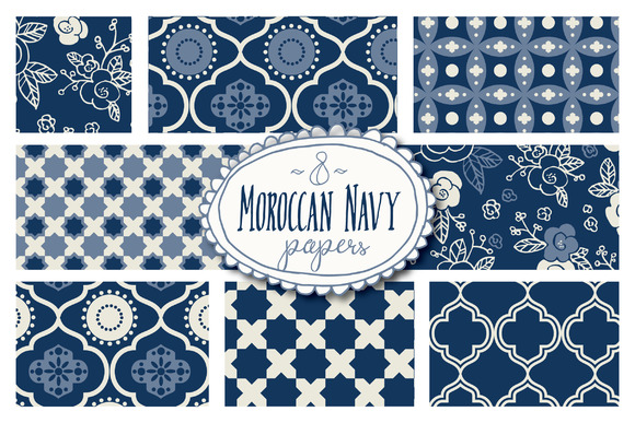 Moroccan Navy Patterns Graphic Backgrounds By The Pen and Brush