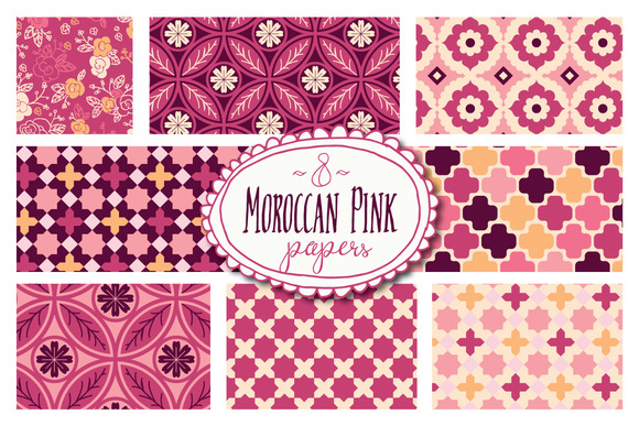 Moroccan Pink Patterns Graphic Backgrounds By The Pen and Brush