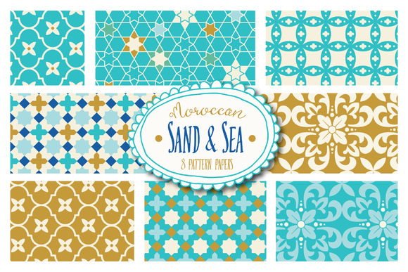 Moroccan Sand & Sea Digital Papers Graphic Backgrounds By The Pen and Brush