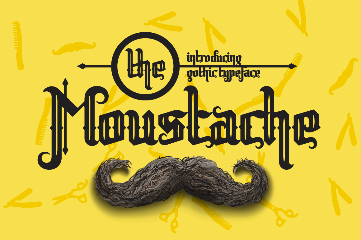 Print on Demand: Moustache Blackletter Font By NREY