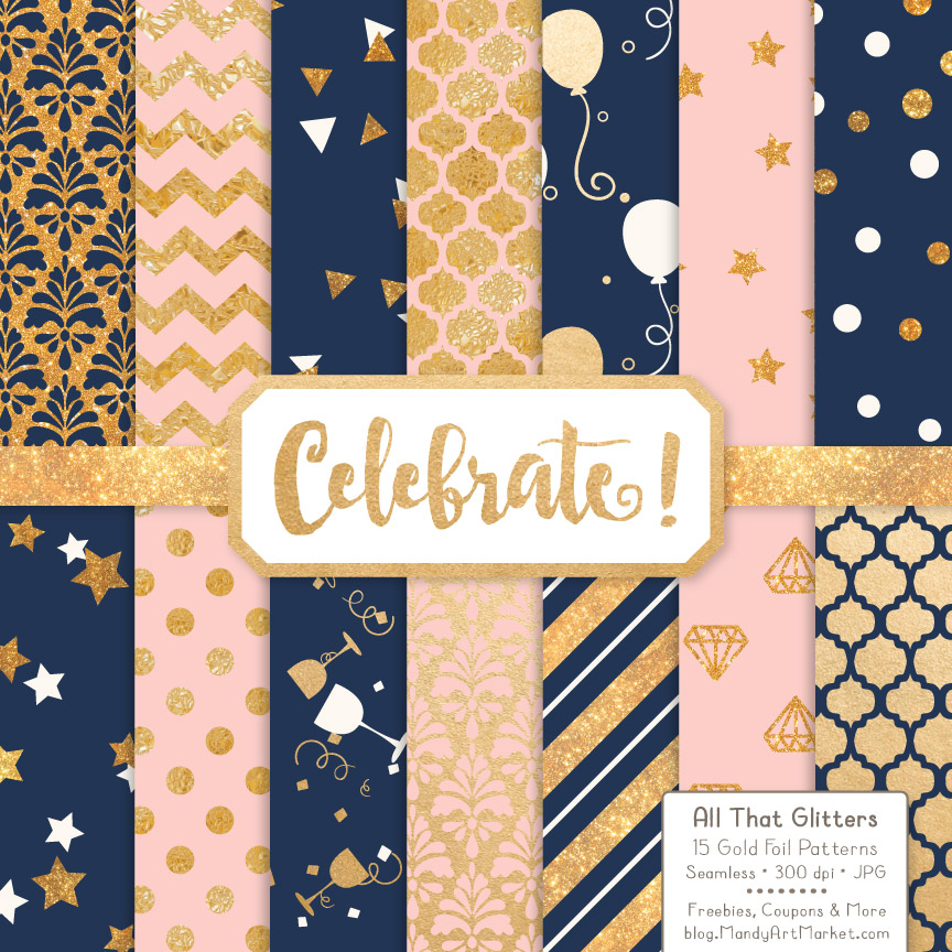 Download Free Navy Blush Celebrate Gold Digital Paper Set Graphic By Amanda for Cricut Explore, Silhouette and other cutting machines.