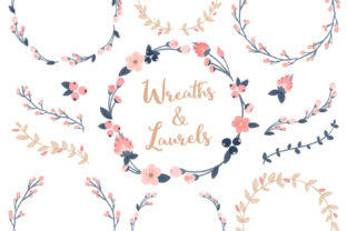 Navy Blush Floral Laurals and Wreaths Graphic By Amanda Ilkov