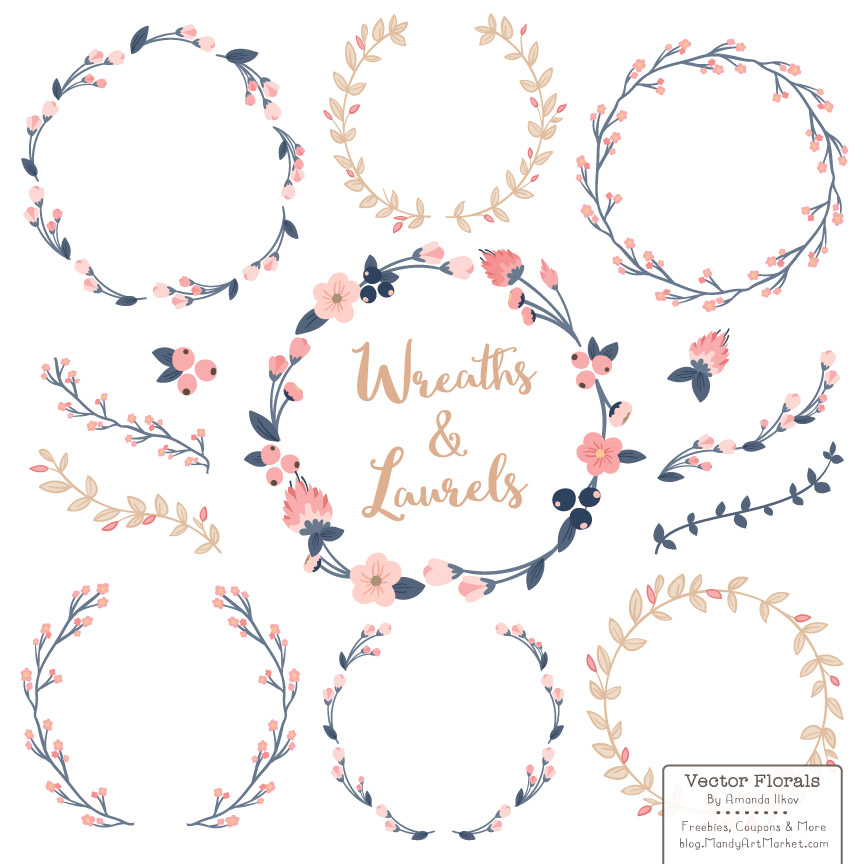Download Free Navy Blush Floral Laurals And Wreaths Grafico Por Amanda Ilkov for Cricut Explore, Silhouette and other cutting machines.