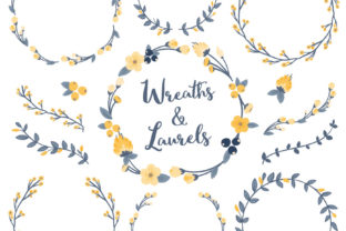 Navy Lemon Floral Laurals and Wreaths Graphic By Amanda Ilkov