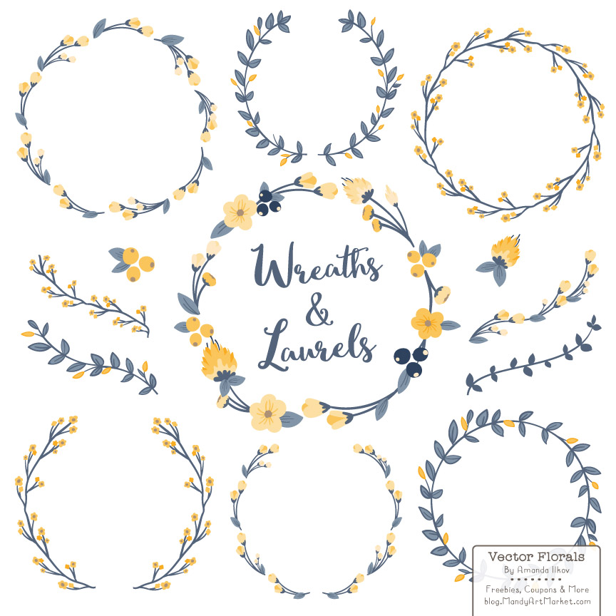 Download Free Navy Lemon Floral Laurals And Wreaths Graphic By Amanda Ilkov for Cricut Explore, Silhouette and other cutting machines.