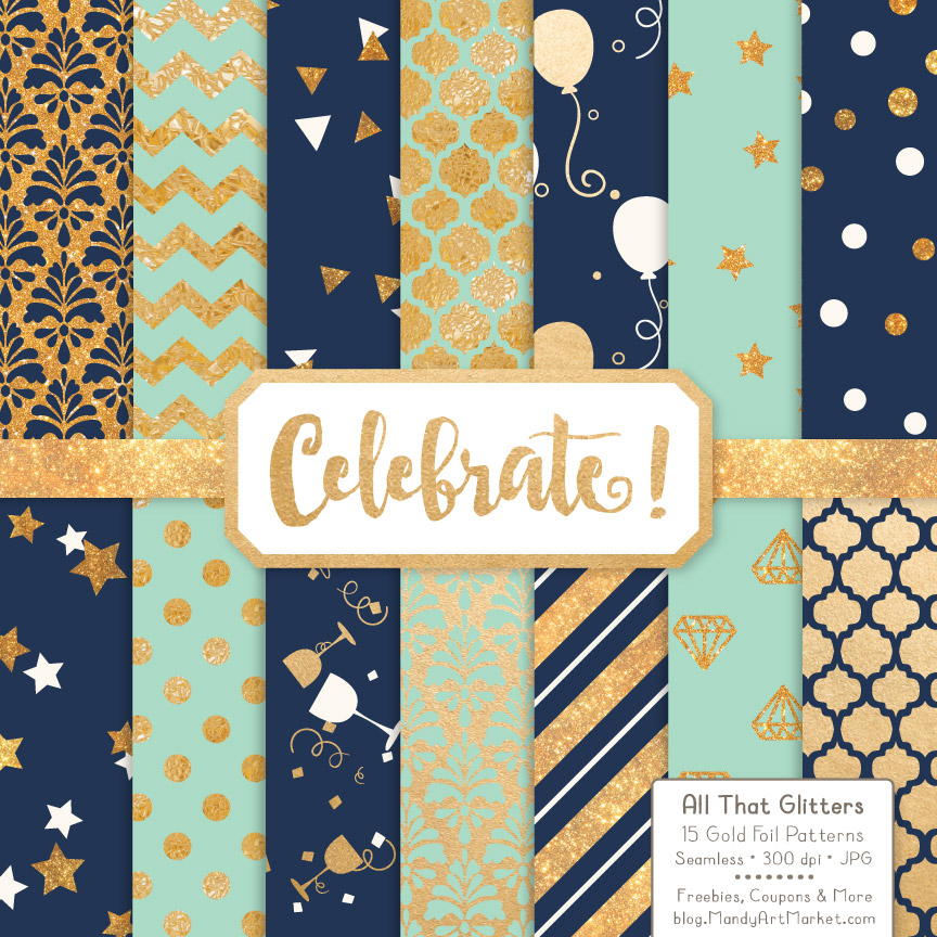 Navy Mint Celebrate Gold Digital Paper Set Graphic By Amanda