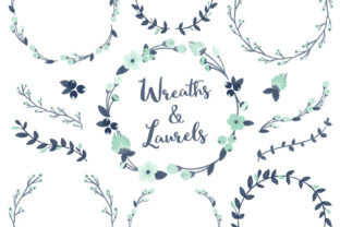 Navy Mint Floral Laurals and Wreaths Graphic By Amanda Ilkov
