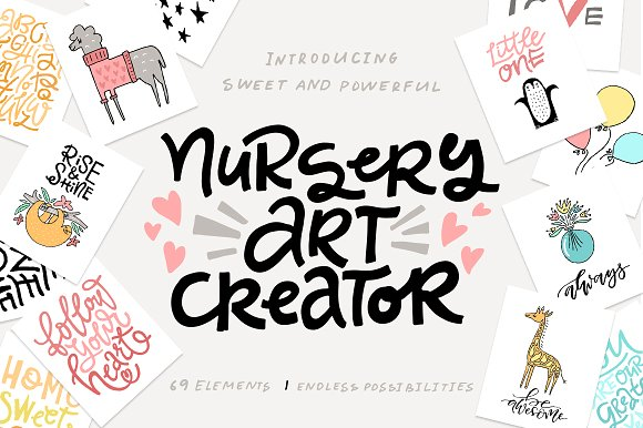 Download Free Nursery Art Creator Diy Pack Graphic By Favete Art Creative for Cricut Explore, Silhouette and other cutting machines.