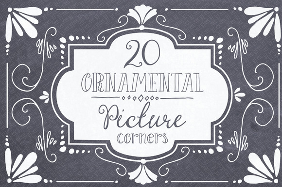 Ornamental Picture Corners Graphic Objects By The Pen and Brush