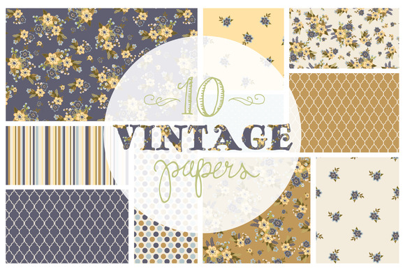 Pack of 10 Vintage Floral Digital Papers Graphic Backgrounds By The Pen and Brush