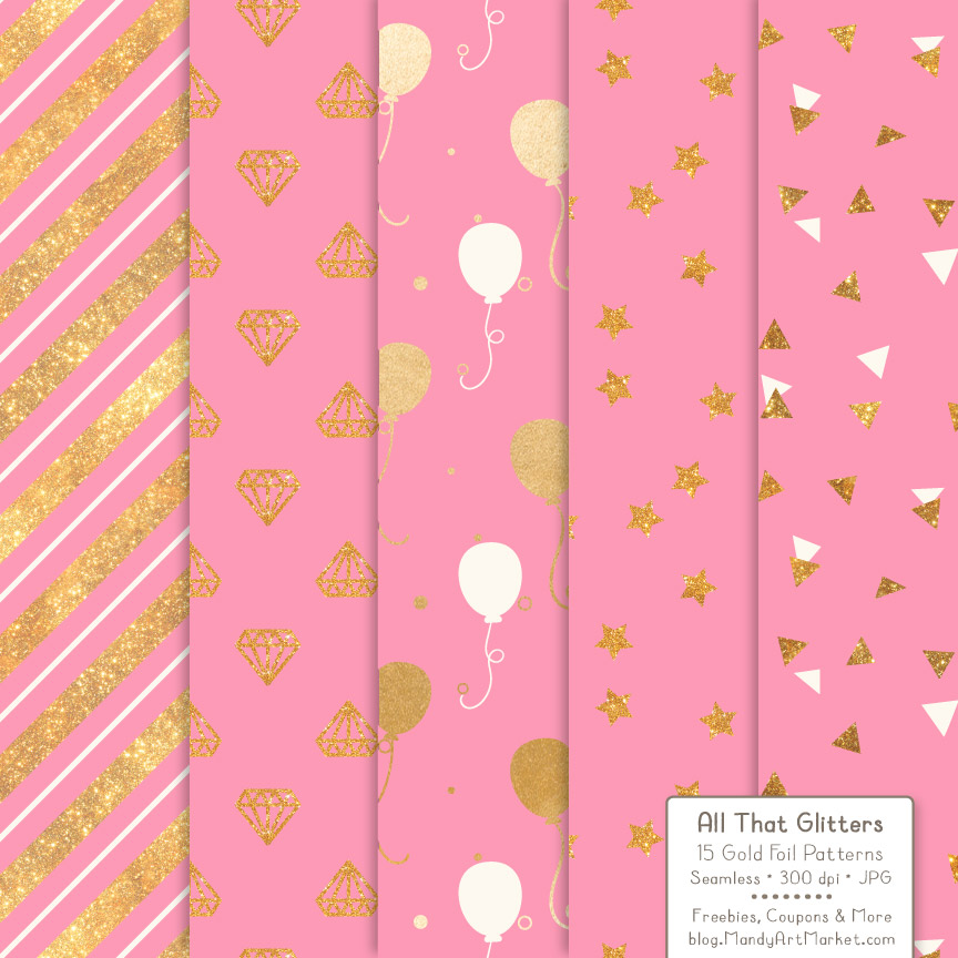 Download Free Pink Celebrate Gold Digital Paper Set Graphic By Amanda Ilkov for Cricut Explore, Silhouette and other cutting machines.