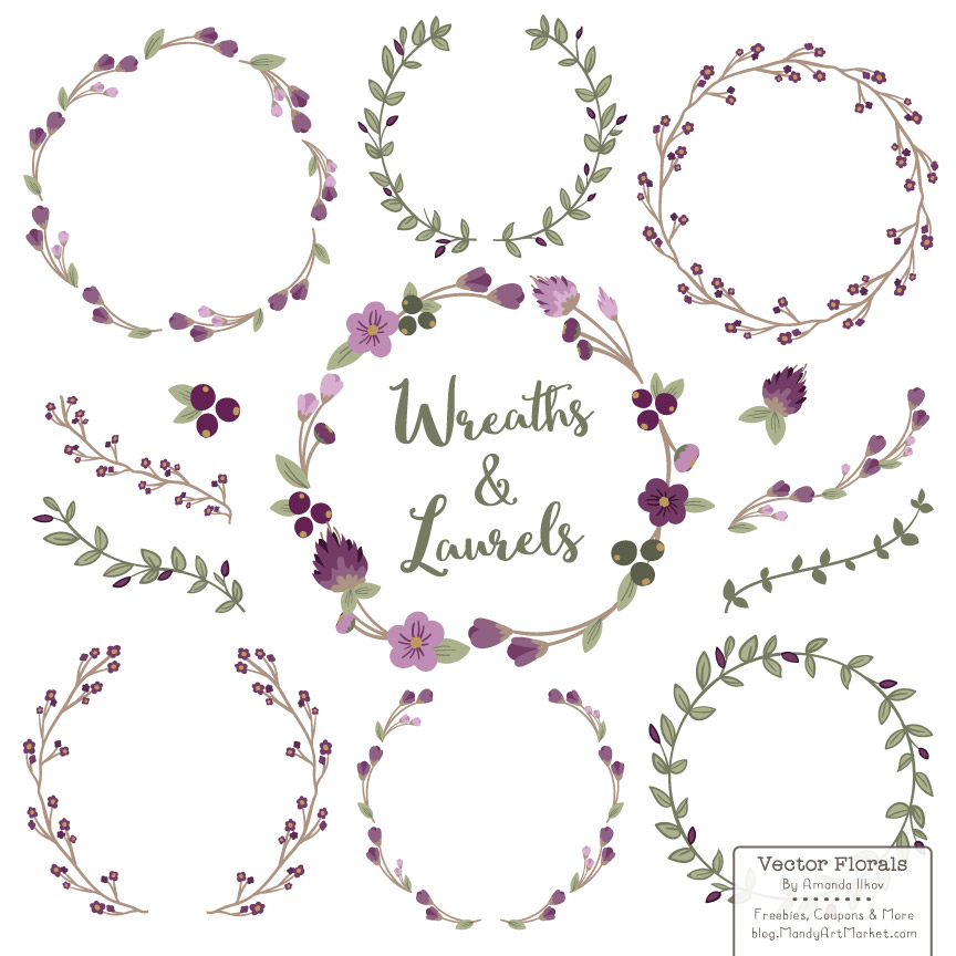 Plum Floral Laurals and Wreaths Graphic Illustrations By Amanda Ilkov