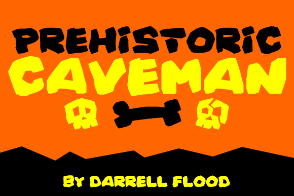 Print on Demand: Prehistoric Caveman Decorative Font By Dadiomouse