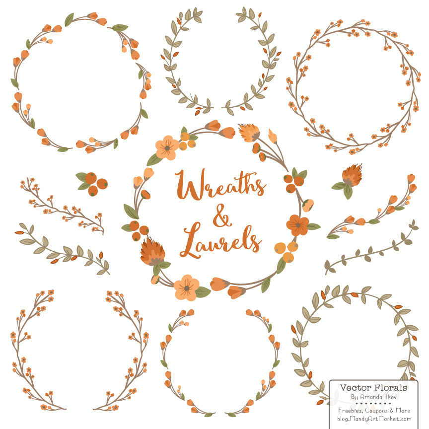 Pumpkin Floral Laurals and Wreaths Graphic Illustrations By Amanda Ilkov