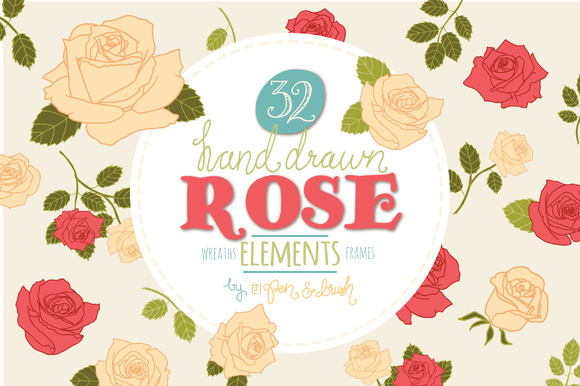 Romantic Rose Set Graphic Illustrations By The Pen and Brush