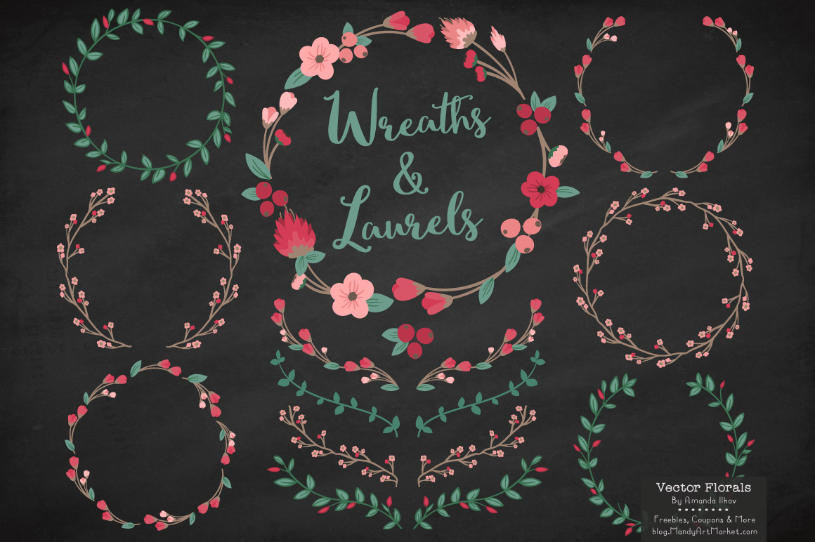 Rose Garden Floral Laurals and Wreaths Graphic Illustrations By Amanda Ilkov