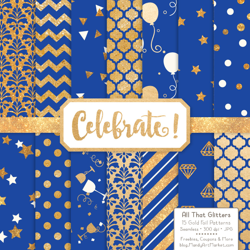 Royal Blue Celebrate Gold Digital Paper Set Graphic By Amanda