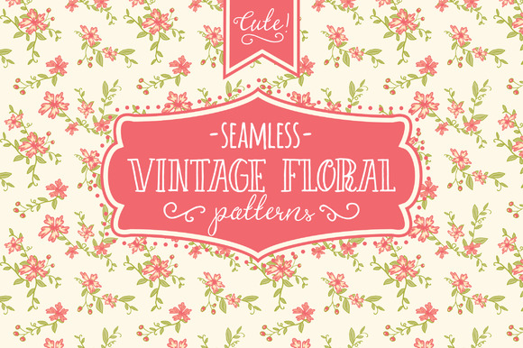 Seamless Vintage Floral Patterns Graphic Backgrounds By The Pen and Brush
