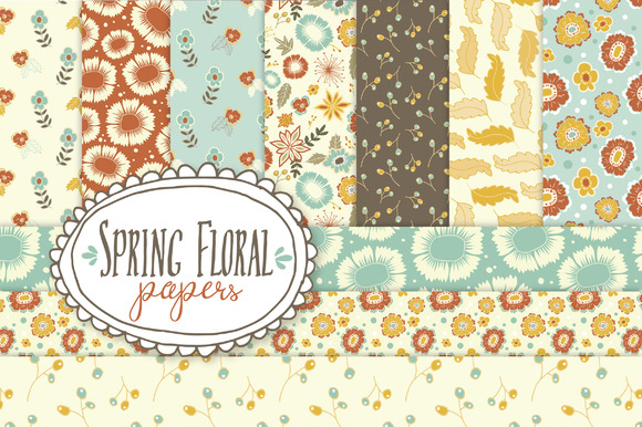 Set of 10 Digital Spring Floral Papers Graphic Backgrounds By The Pen and Brush