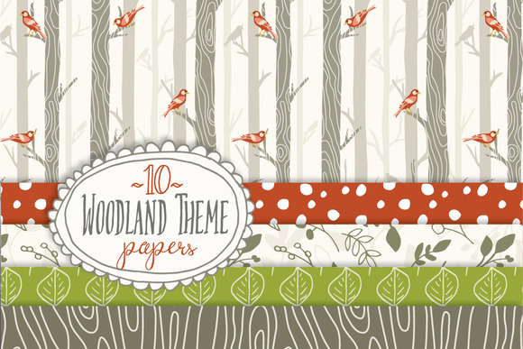 Set of 10 Individual Woodland Seamless Digital Papers Graphic Illustrations By The Pen and Brush