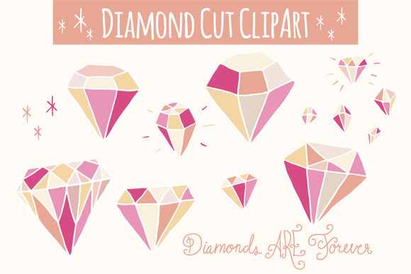 Set of Pink Diamonds Graphic Illustrations By The Pen and Brush