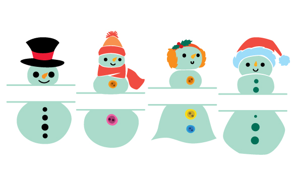 Download Free Snowman Split Design Monogram Frames Svg Cut File By Creative for Cricut Explore, Silhouette and other cutting machines.