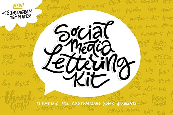 Social Media Lettering Kit Graphic Web Templates By Favete Art - Image 1